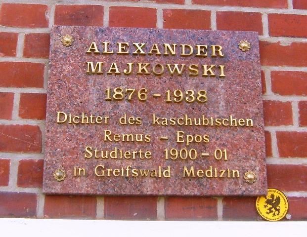 Gryfia/Greifswald - Tablica na domu w którym mieszkał A. Majkowski