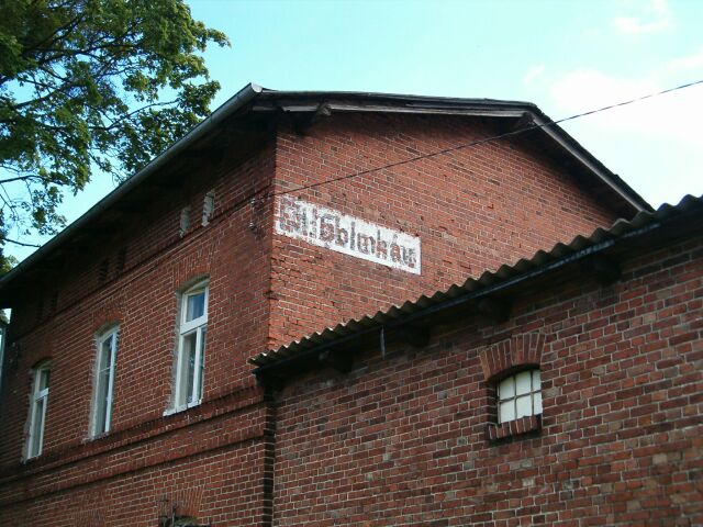 Gołębiewko - niemiecki napis na stacji