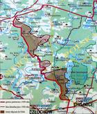 Mapa zmiany granicy w 1920 (z tablicy w Strażnicy przy Jeziorze Gwiazdy)
