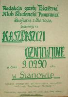 """Plakat """"Kaszëbsczi òżnjiwinë"""" 1990 r."""